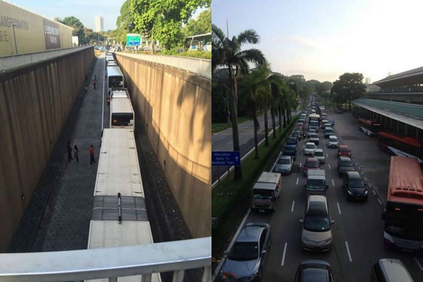 The oil spill on the Bukit Timah Expressway caused a massive traffic jam and affected nearly a dozen bus services at SMRT's Woodlands bus interchange.