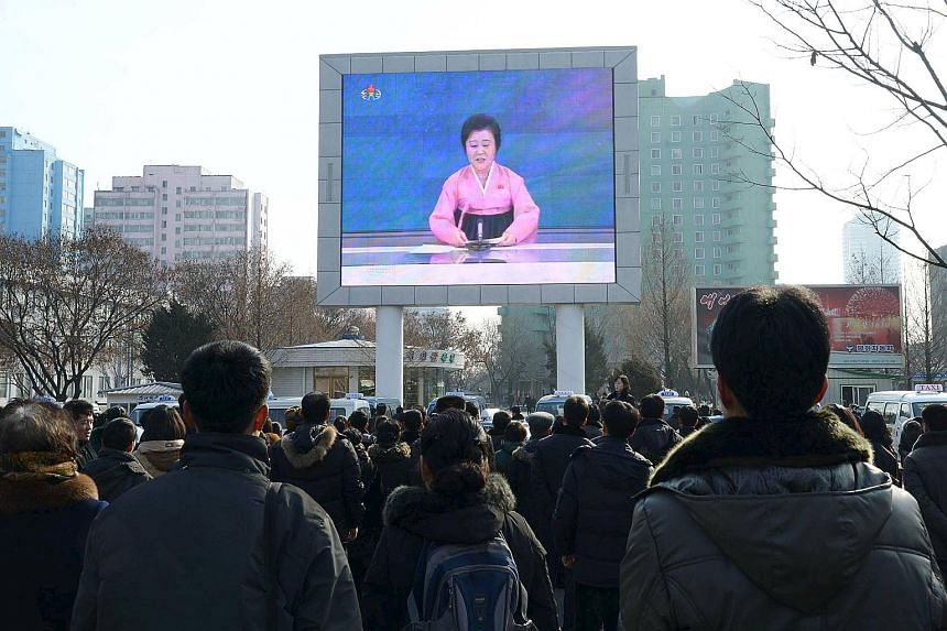A huge screen in Pyongyang showing the broadcast of the government's announcementon Jan 6 that it had successfully tested a miniaturised hydrogen nuclear bomb.