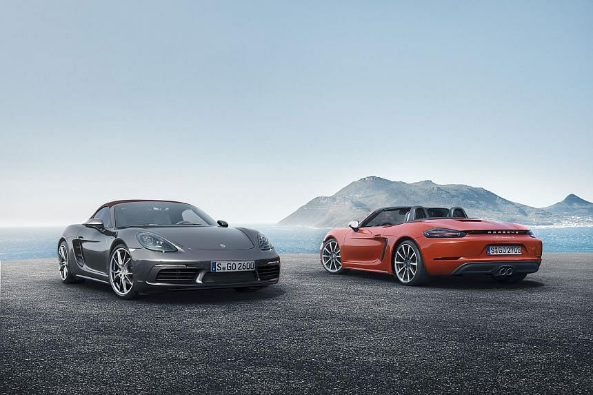 The Porsche 718 Boxster Stuttgart (left) and The 718 Boxster S (right).