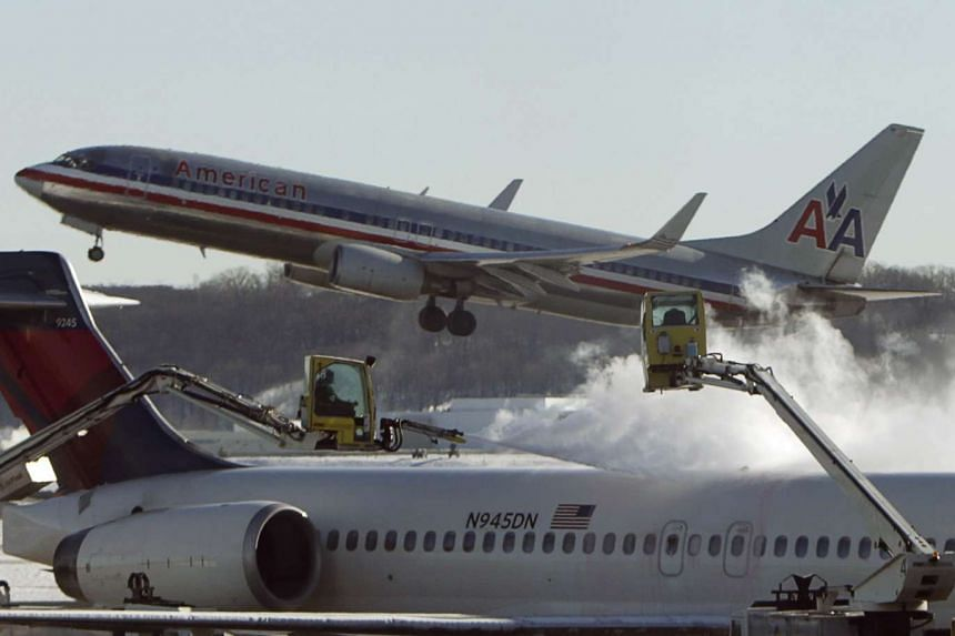 An American Airlines plane taking off at Reagan National Airport in Washington.