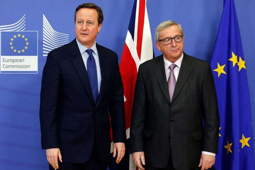 Cameron (left) and Juncker meet at the European Commission in Brussels.