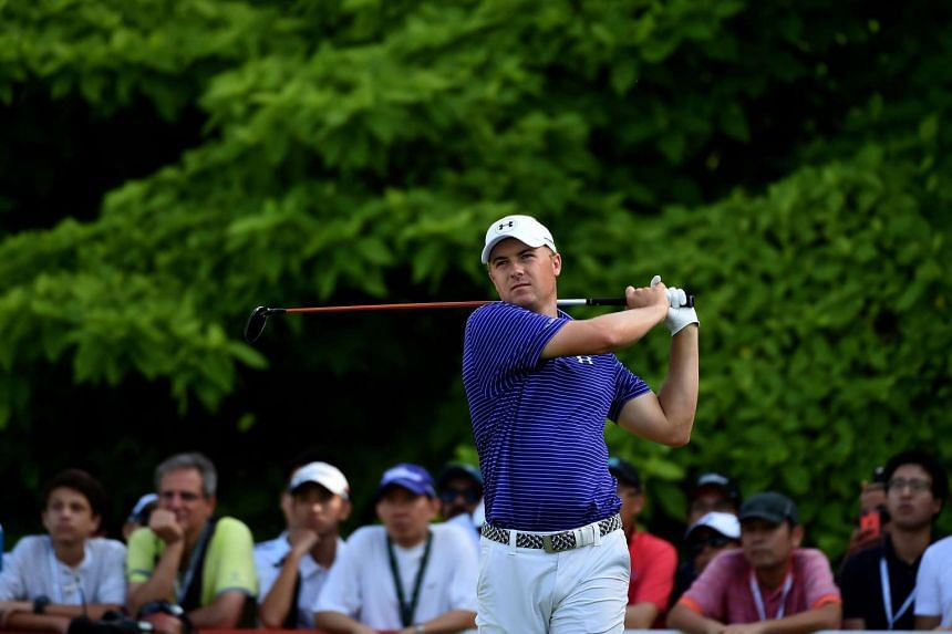 Jordan Spieth teeing off during round two of the Singapore Open at the Sentosa Golf Club on Jan 30, 2016.