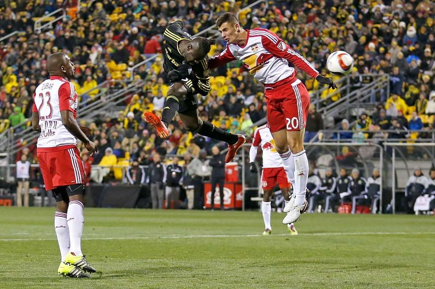 No. 20 Matt Miazga (right) in action for the New York Red Bulls.