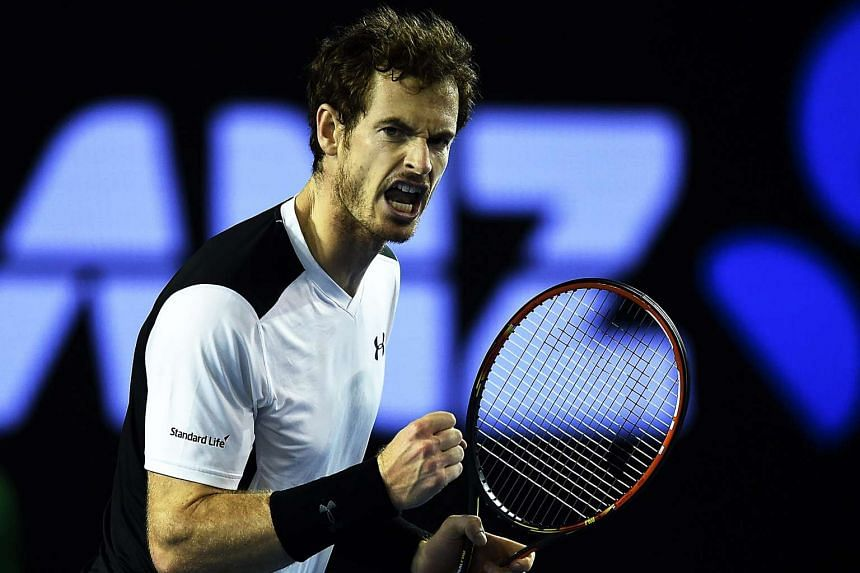 Andy Murray in action against Milos Raonic at the Australian Open on Jan 29.