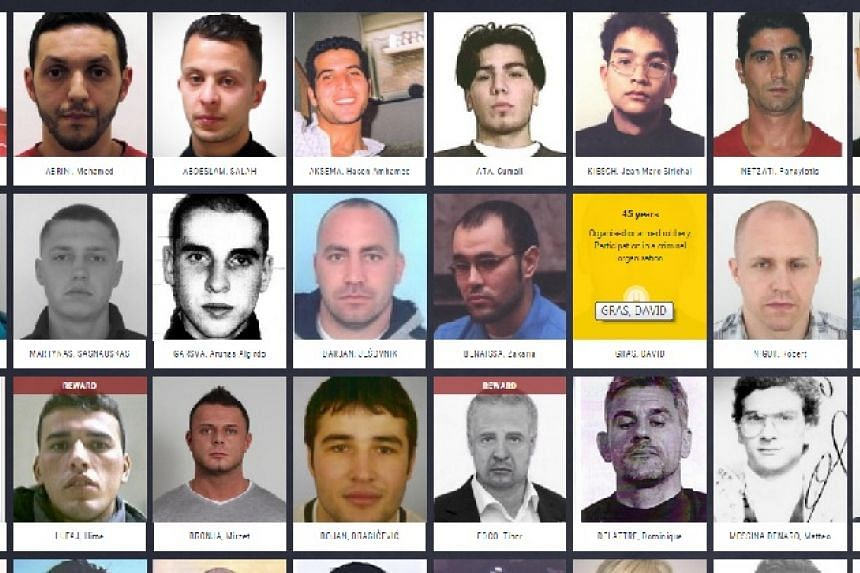 """A screenshot of Europe's """"most wanted"""" from the website."""