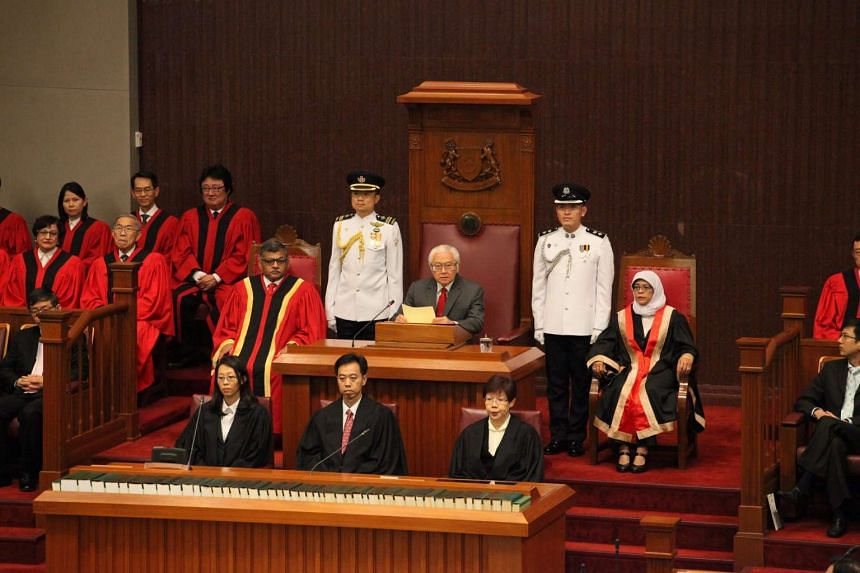 President Tony Tan Keng Yam (centre) presiding at the opening of Singapore's 13th Parliament on Jan 15.