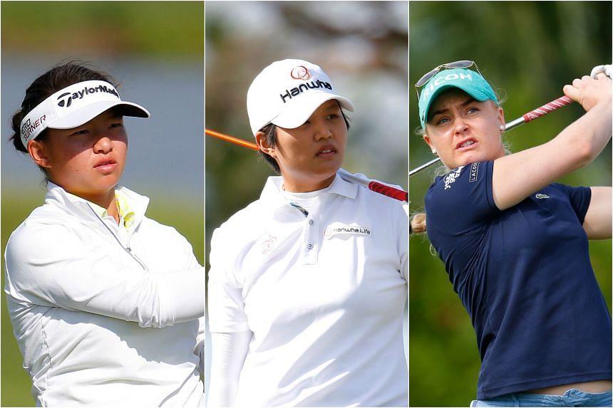 (From left) Megan Khang, Haru Nomura and Charley Hull during the Pure Silk Bahamas LPGA Classic.