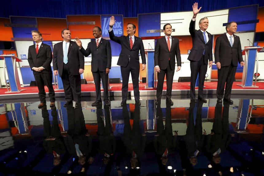 Republican presidential candidates (from left) Rand Paul, Chris Christie, Ben Carson, Ted Cruz, Marco Rubio, Jeb Bush and John Kasich before the start of the debate on Thursday.