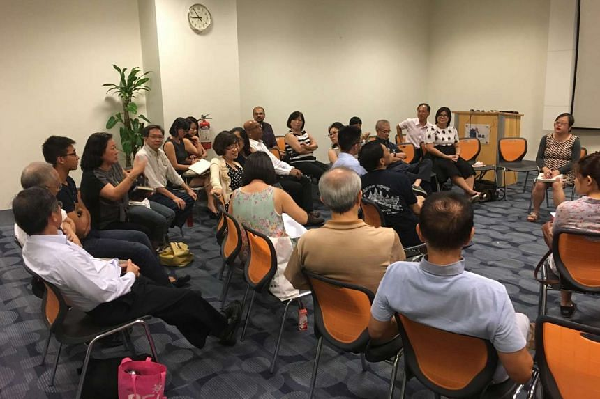 Senior writer Cheong Suk Wai (far right) with readers at The Big Read Meet on Wednesday.