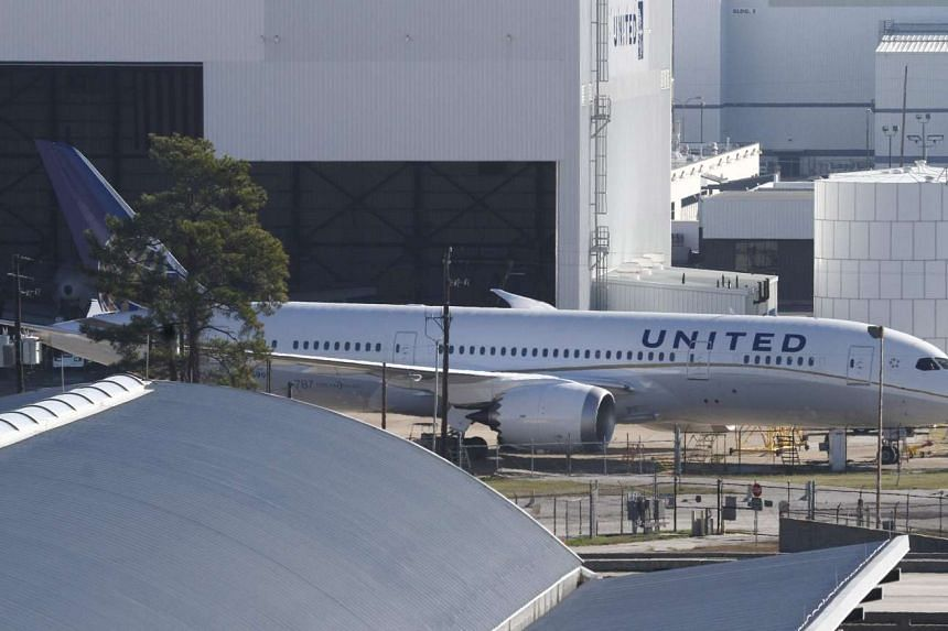 United Airlines 787 Dreamliner jets are seen parked on the tarmac at George Bush Intercontinental Airport.