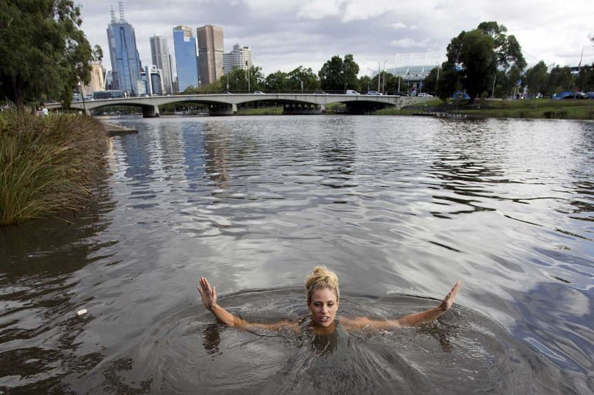 Australian Open women's champion Angelique Kerber swimming in the Yarra river to honour a bet she made with a journalist.