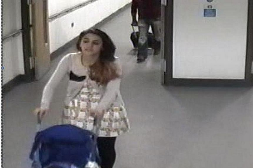 Clockwise from far left: Video footage from East Midlands Airport showing Shakil on her way to boarding a flight to Turkey with her child in 2014; an image from her mobile phone showing her wearing a balaclava with ISIS' logo on it; another image sho