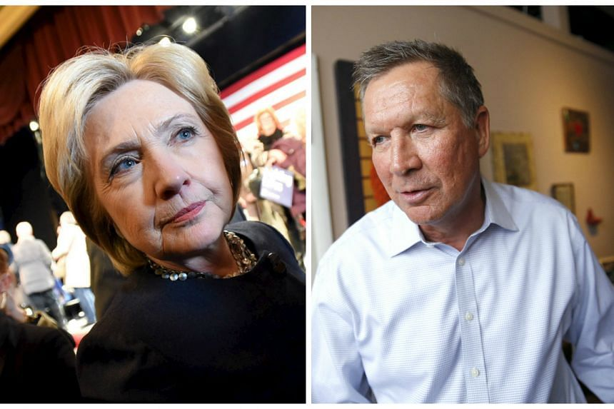 Clinton (left) and Kasich are the New York Times' picks.