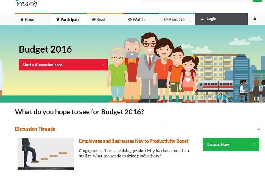 Reach's Pre-Budget 2016 microsite, where the public can submit their views and suggestions.