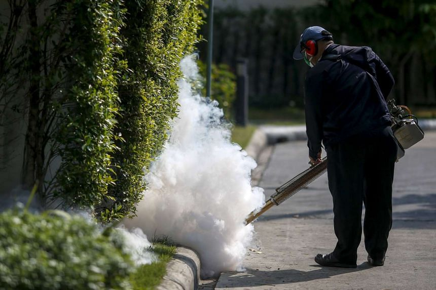 A worker sprays insecticide for mosquitos at a village in Bangkok, Thailand, on Jan 13, 2016.