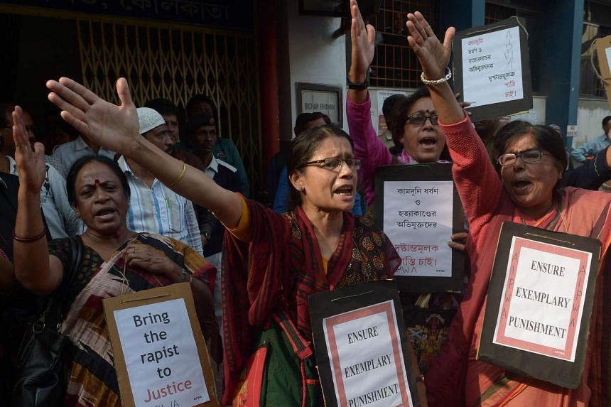Social activists shouting slogans during a protest against a rape and murder, in Kolkata on Jan 28, 2016.