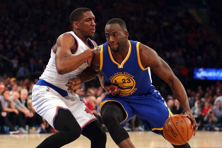 Draymond Green (right) drives against Langston Galloway during the first quarter on Jan 31, 2016.