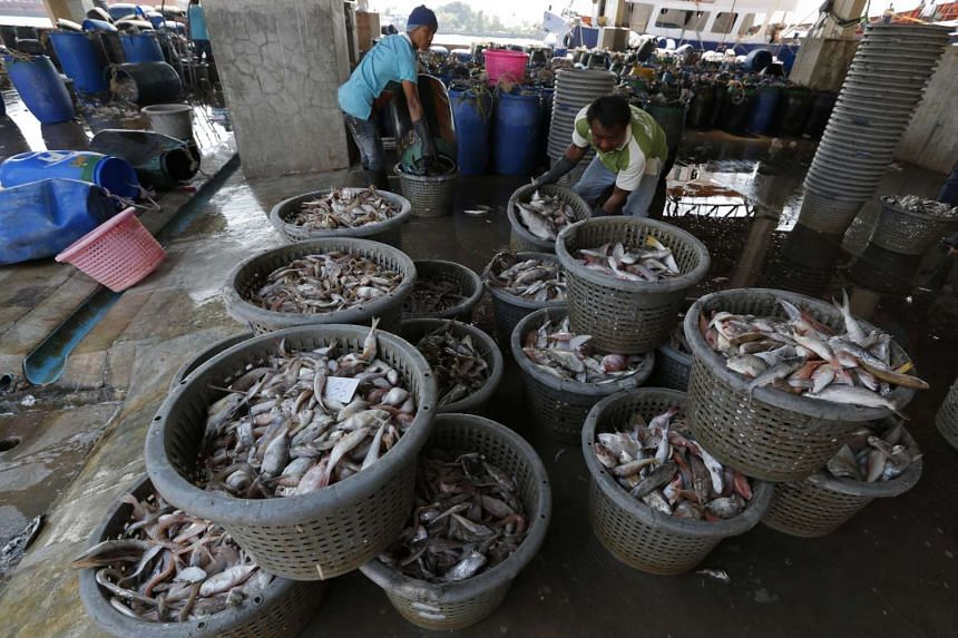 Workers sort fish at a wholesale market for fish and other seafood in Thailand.