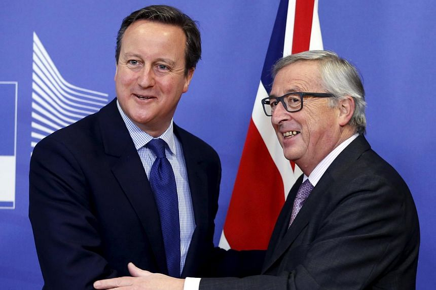 Britain's Prime Minister David Cameron (left) with European Commission president Jean-Claude Juncker on Jan 29, 2016.