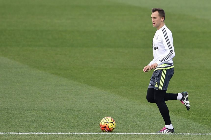 Real Madrid's Denis Cheryshev takes part in a training session at Valdebebas sport city in Madrid.