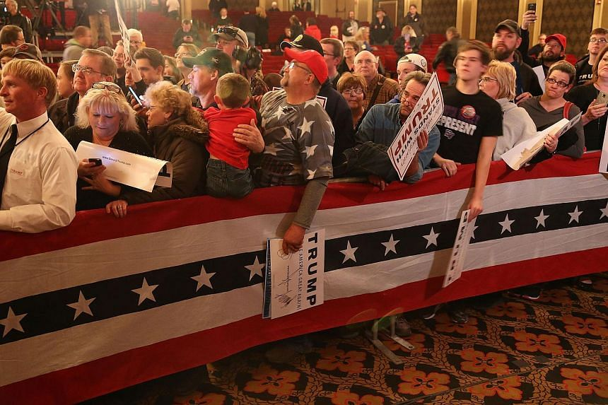 People attending a campaign rally for Republican presidential candidate Donald Trump at the Sioux City Orpheum Theatre on Jan 31, 2016.