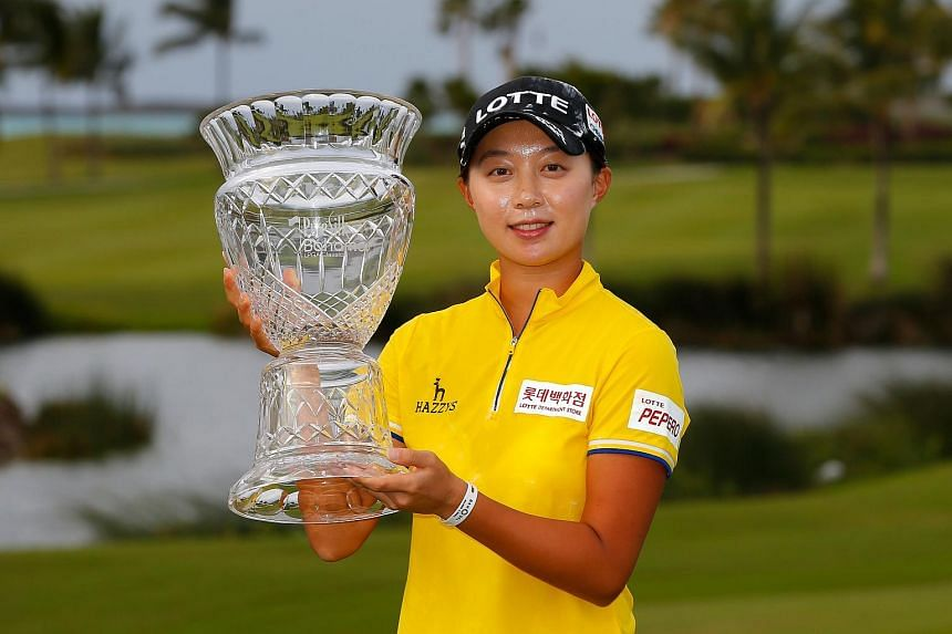 Kim Hyo Joo posing with the trophy after the final round of the Pure Silk Bahamas LPGA Classic on Jan 31, 2016.