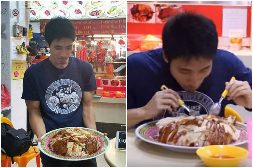 Mr Zermatt Neo's chicken rice portion consisted of 10 servings of rice and a whole chicken.
