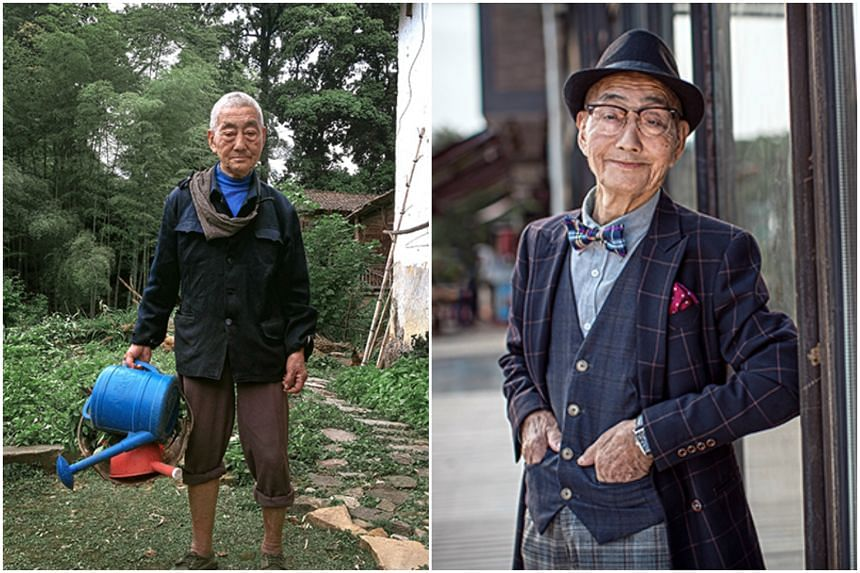 Mr Ding Bingcai in his farmer's garb (left) and his transformation into a sartorial muse (right).