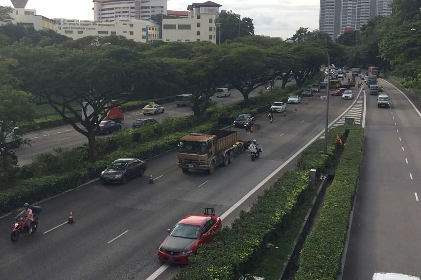 Due to an oil spill caused by a traffic accident, two lanes along PIE (Changi) after Jurong Town Hall road exit were closed to facilitate recovery.
