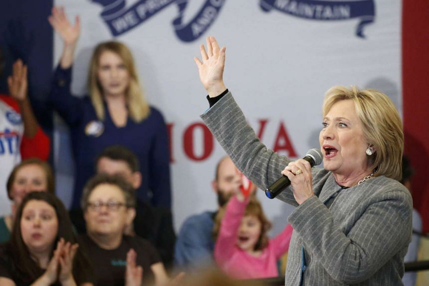 US Democratic presidential candidate Hillary Clinton speaks during a campaign rally at Abraham Lincoln High School in Council Bluffs, Iowa on Sunday.