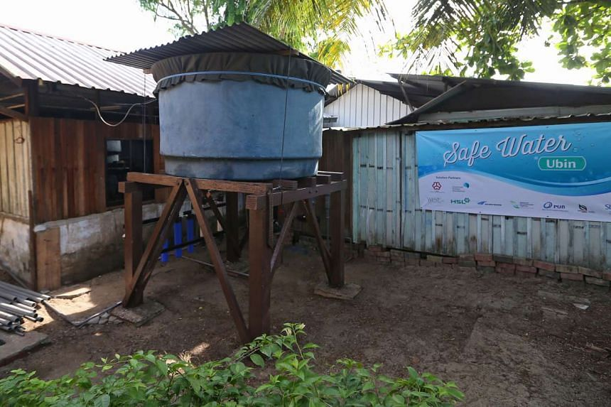 A water treatment system at the back of a licensed food retail outlet on the island.