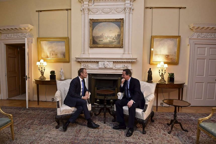 British PM David Cameron (right) speaking with European Council president Donald Tusk on Jan 31, 2016.