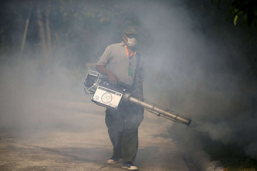 A worker sprays insecticide for mosquitos at a village in Bangkok, Thailand, Jan 13, 2016.