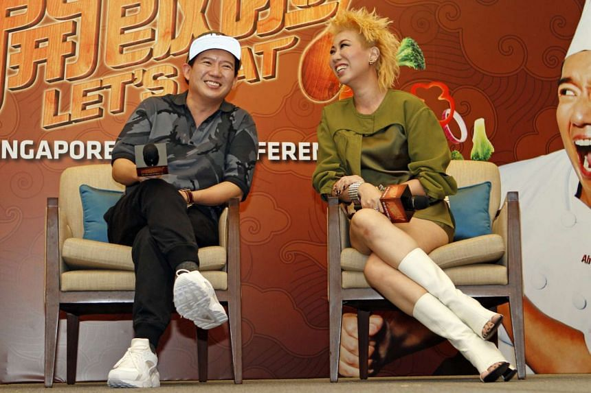 Chapman To (left) and Patricia Mok at the press conference for the movie Let's Eat.