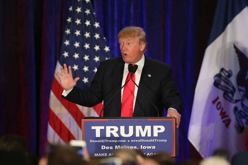 Republican presidential candidate Donald Trump speaking at his Iowa Caucus night gathering on Feb 1. 2016.