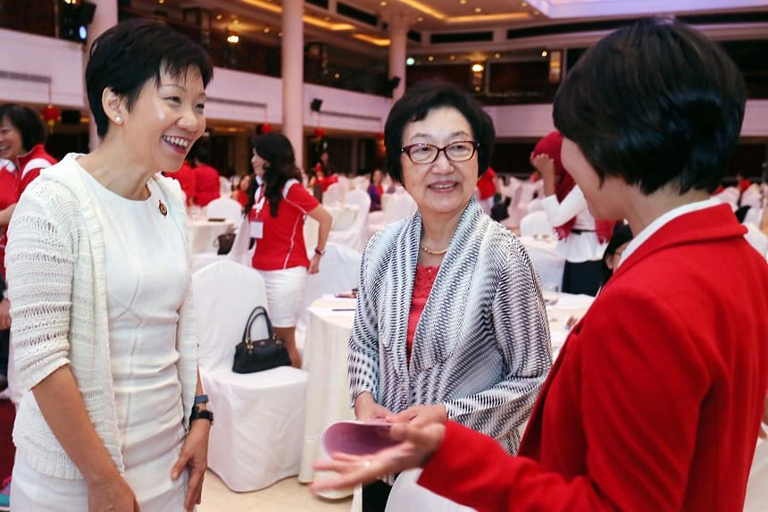 From left: People's Action Party Women's Wing chairman Grace Fu, former Japanese Cabinet minister Yuriko Kawaguchi and conference organiser Foo Mee Har, at the PAP Women's Wing Conference on Feb 8, 2014.
