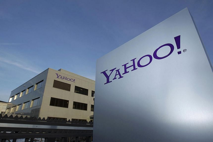 A Yahoo logo in front of a building in Rolle, Geneva.