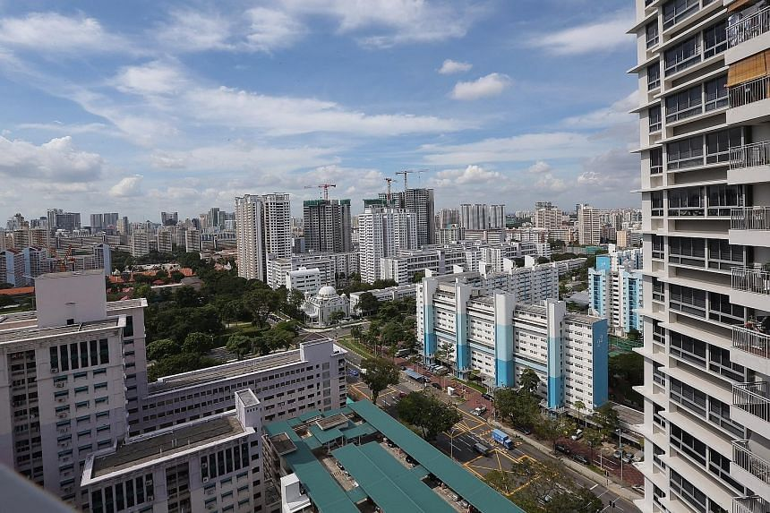 The view from the living-room balcony of the 24th-floor unit at City View @ Boon Keng that was sold. The development boasts features such as lift lobbies with card access systems.