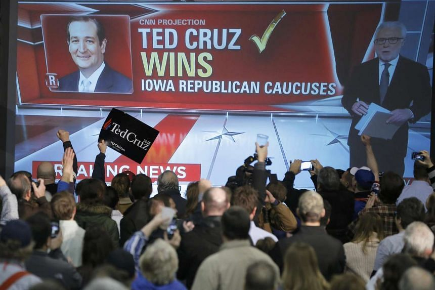 US Republican presidential candidate Ted Cruz wins the Iowa caucus with 28 per cent of vote, beating front runner Donald Trump, who wins 24 per cent of vote.