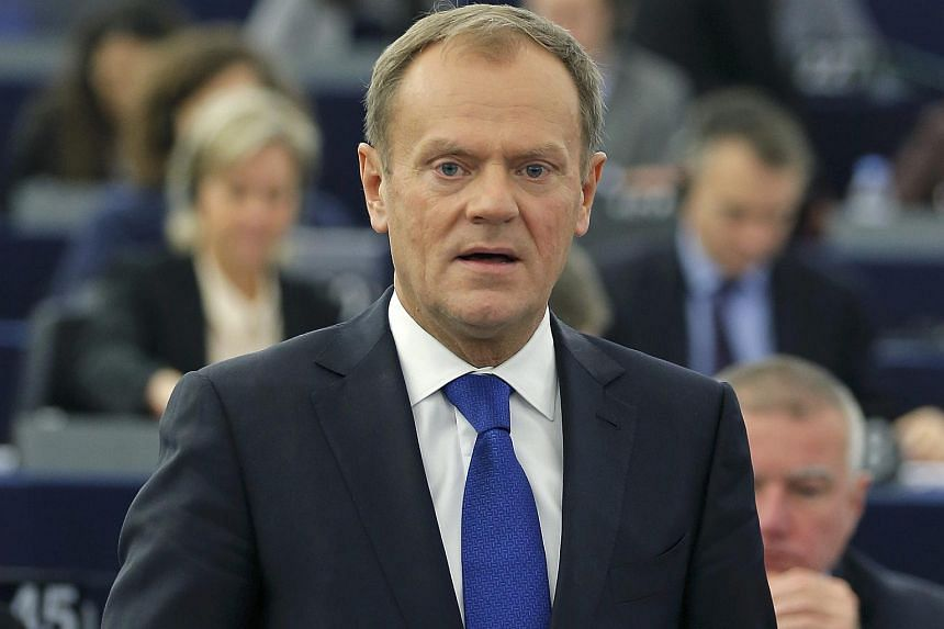 European Council president Donald Tusk addresses the European Parliament in Strasbourg on Jan 19, 2016.