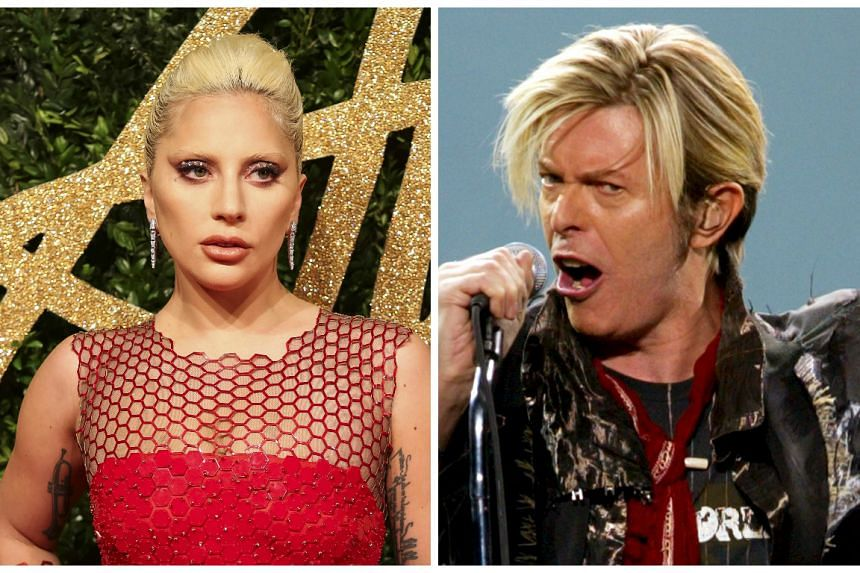 Lady Gaga (left) will pay tribute to late rock legend David Bowie (right).
