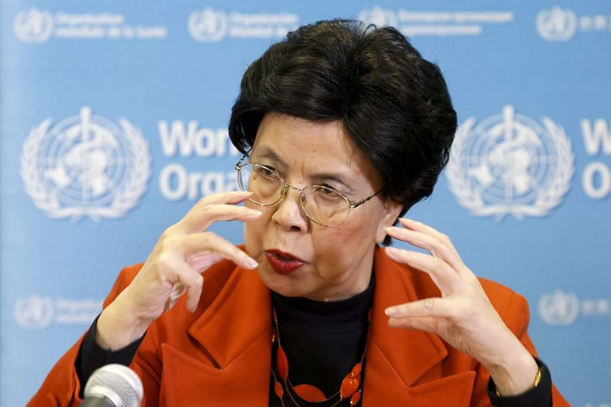 China's Margaret Chan addresses the media at the WHO headquarters in Geneva, Switzerland on Monday.