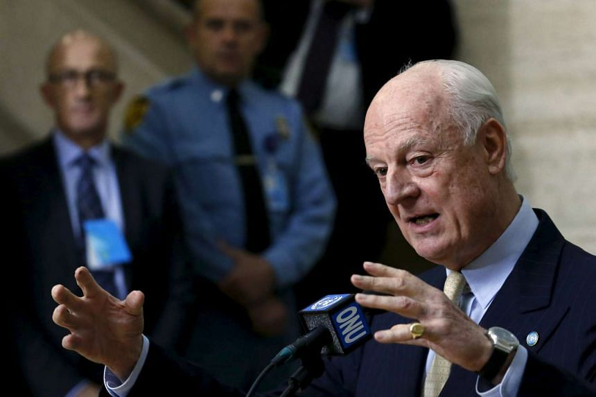 UN mediator for Syria Staffan de Mistura gestures during a news conference after a meeting with the Syrian High Negotiations Committee during the peace talks in Geneva, Switzerland on Monday.