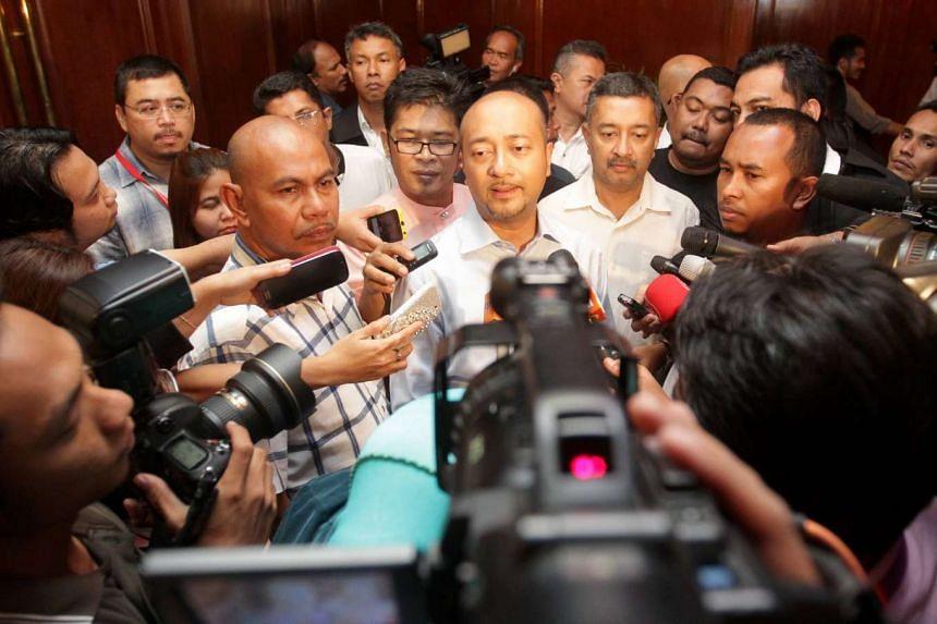 Datuk Mukhriz Mahathir (centre), the Kedah chief minister, speaking to the media.