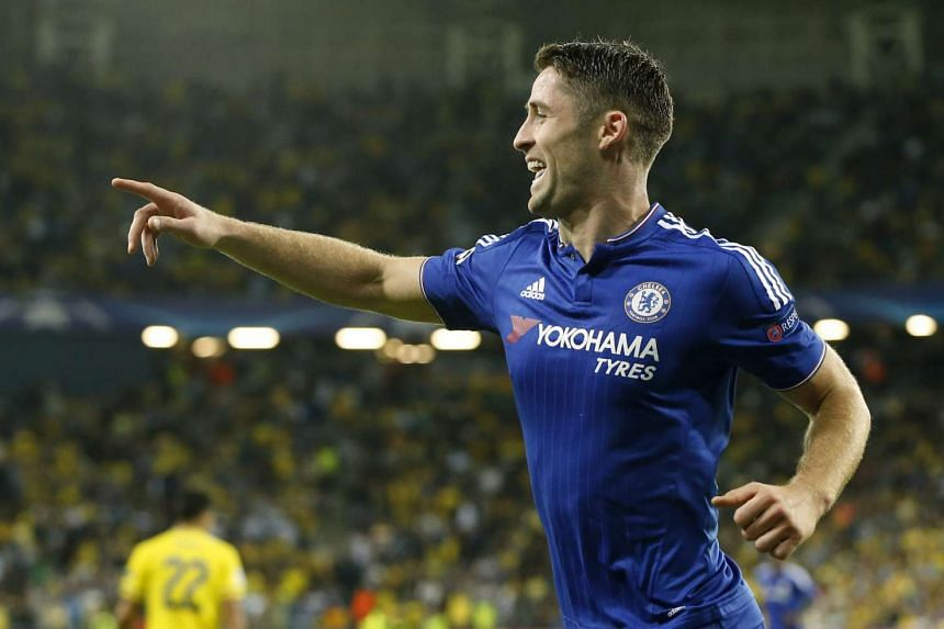 Gary Cahill celebrates after scoring the first goal for Chelsea  during the Uefa Champions League football match against Maccabi Tel Aviv.