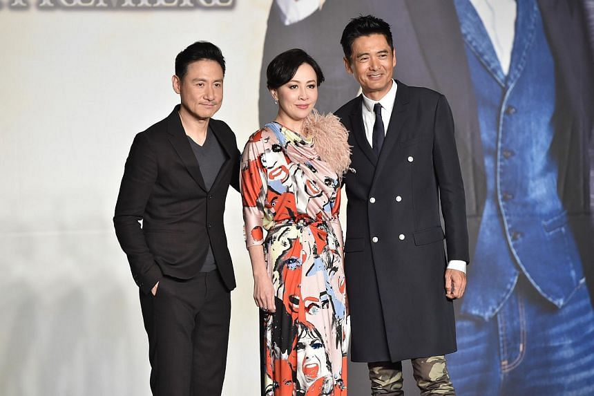 (From left) Jacky Cheung, Carina Lau and Chow Yun Fat at the premiere of From Vegas To Macau III in Hong Kong on Jan 31.