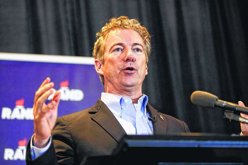 Rand Paul speaks during a campaign event at the University of Iowa on Jan 31, 2016.