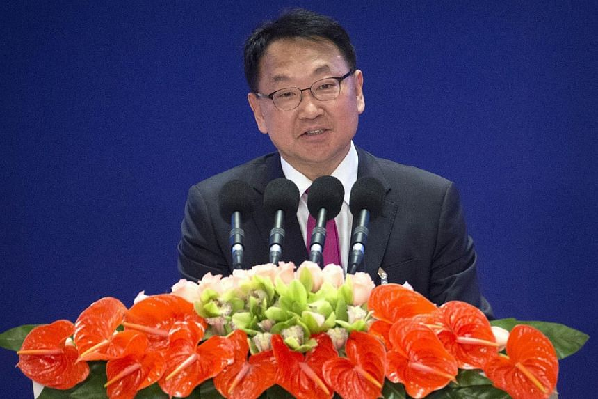 South Korean Finance Minister Yoo Il Ho speaks at the Asian Infrastructure Investment Bank (AIIB) on Jan 16, 2016.