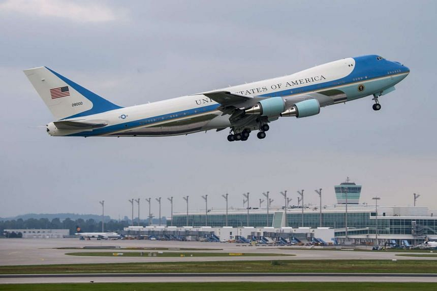 The Air Force One aircraft, a modified Boeing 747-200, carrying US President Barack Obama in Munich, on Jun 8, 2015.