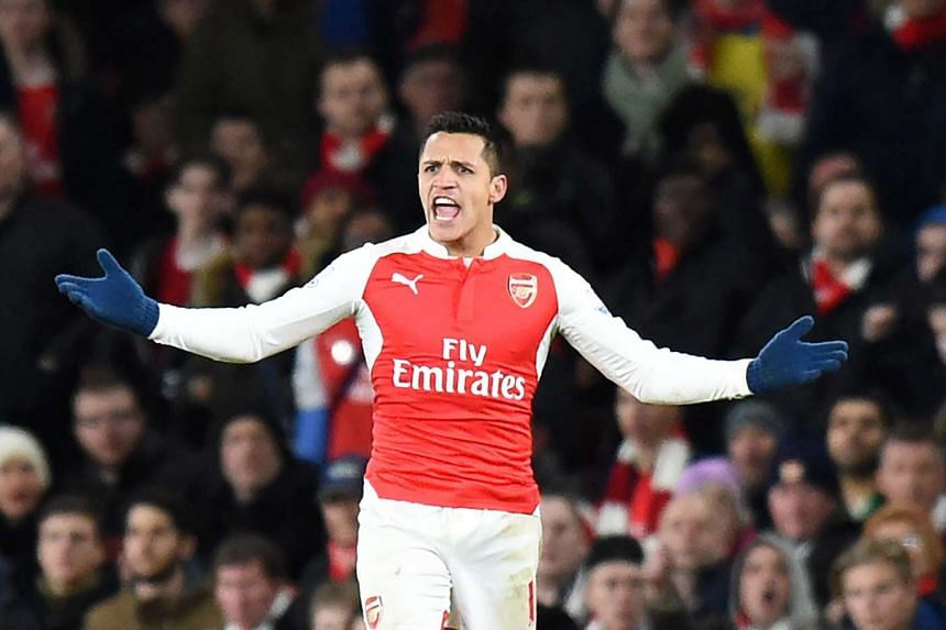 Arsenal Alexis Sanchez reacts during the match.